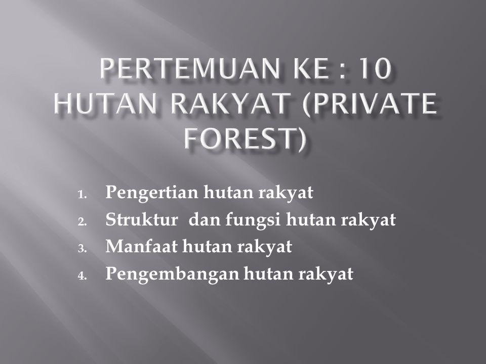 1. Pengertian hutan rakyat 2. Struktur dan fungsi hutan rakyat 3. Manfaat hutan rakyat 4. Pengembangan hutan rakyat