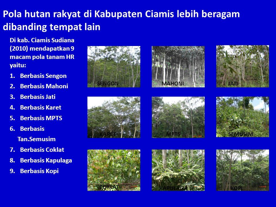 Di kab. Ciamis Sudiana (2010) mendapatkan 9 macam pola tanam HR yaitu: 1.Berbasis Sengon 2.Berbasis Mahoni 3.Berbasis Jati 4.Berbasis Karet 5.Berbasis