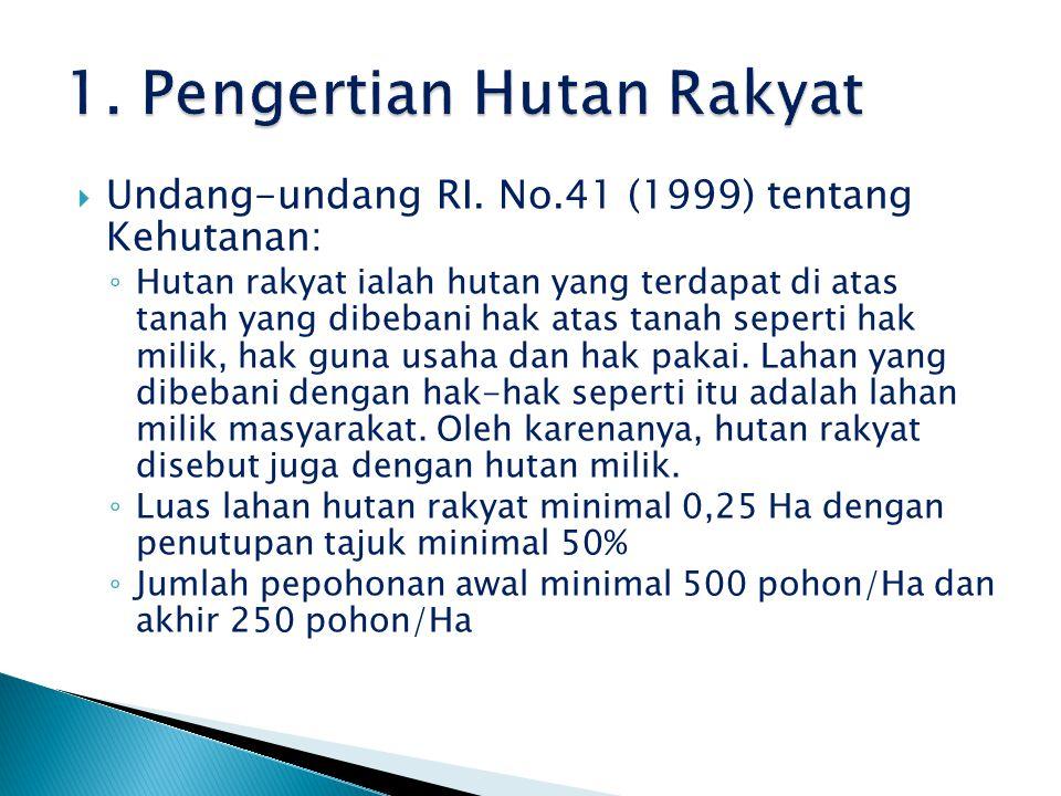  Undang-undang RI. No.41 (1999) tentang Kehutanan: ◦ Hutan rakyat ialah hutan yang terdapat di atas tanah yang dibebani hak atas tanah seperti hak mi