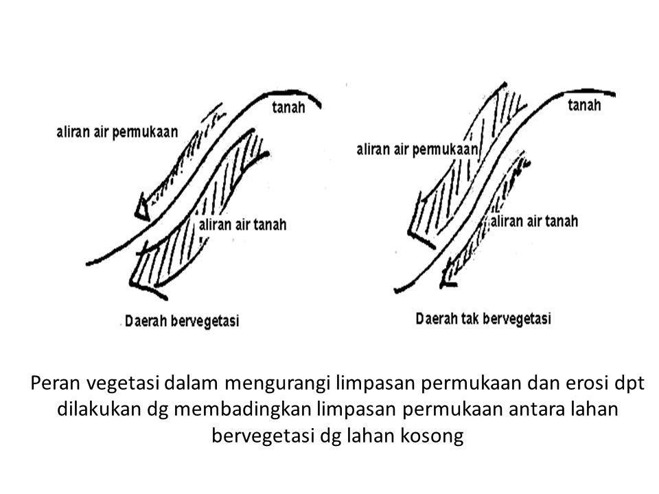 Peran vegetasi dalam mengurangi limpasan permukaan dan erosi dpt dilakukan dg membadingkan limpasan permukaan antara lahan bervegetasi dg lahan kosong