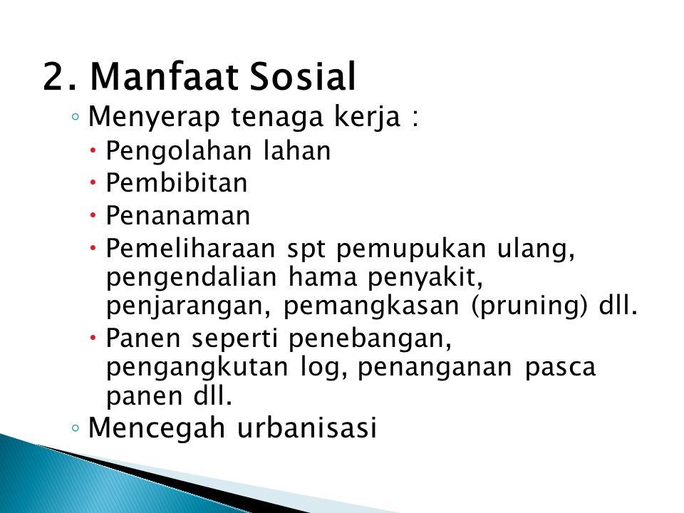 2. Manfaat Sosial ◦ Menyerap tenaga kerja :  Pengolahan lahan  Pembibitan  Penanaman  Pemeliharaan spt pemupukan ulang, pengendalian hama penyakit