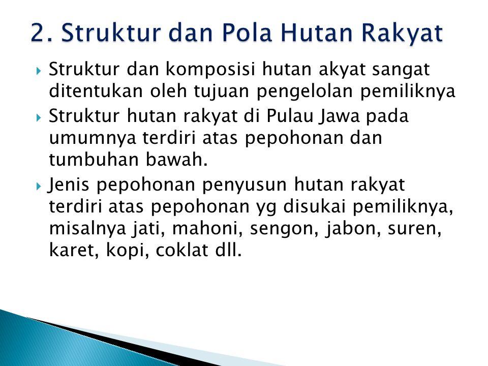  Struktur dan komposisi hutan akyat sangat ditentukan oleh tujuan pengelolan pemiliknya  Struktur hutan rakyat di Pulau Jawa pada umumnya terdiri at