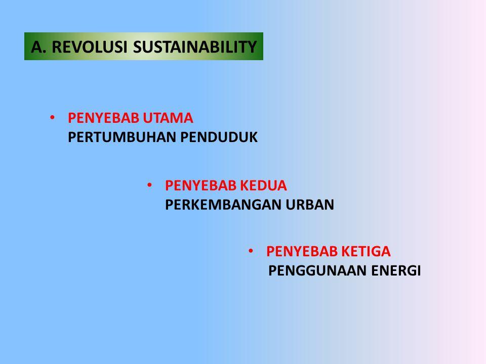 A. REVOLUSI SUSTAINABILITY • PENYEBAB UTAMA PERTUMBUHAN PENDUDUK • PENYEBAB KEDUA PERKEMBANGAN URBAN • PENYEBAB KETIGA PENGGUNAAN ENERGI