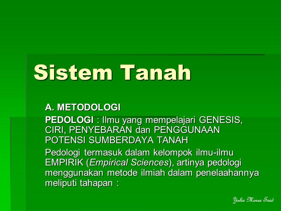 Sistem Tanah A. METODOLOGI PEDOLOGI : Ilmu yang mempelajari GENESIS, CIRI, PENYEBARAN dan PENGGUNAAN POTENSI SUMBERDAYA TANAH Pedologi termasuk dalam