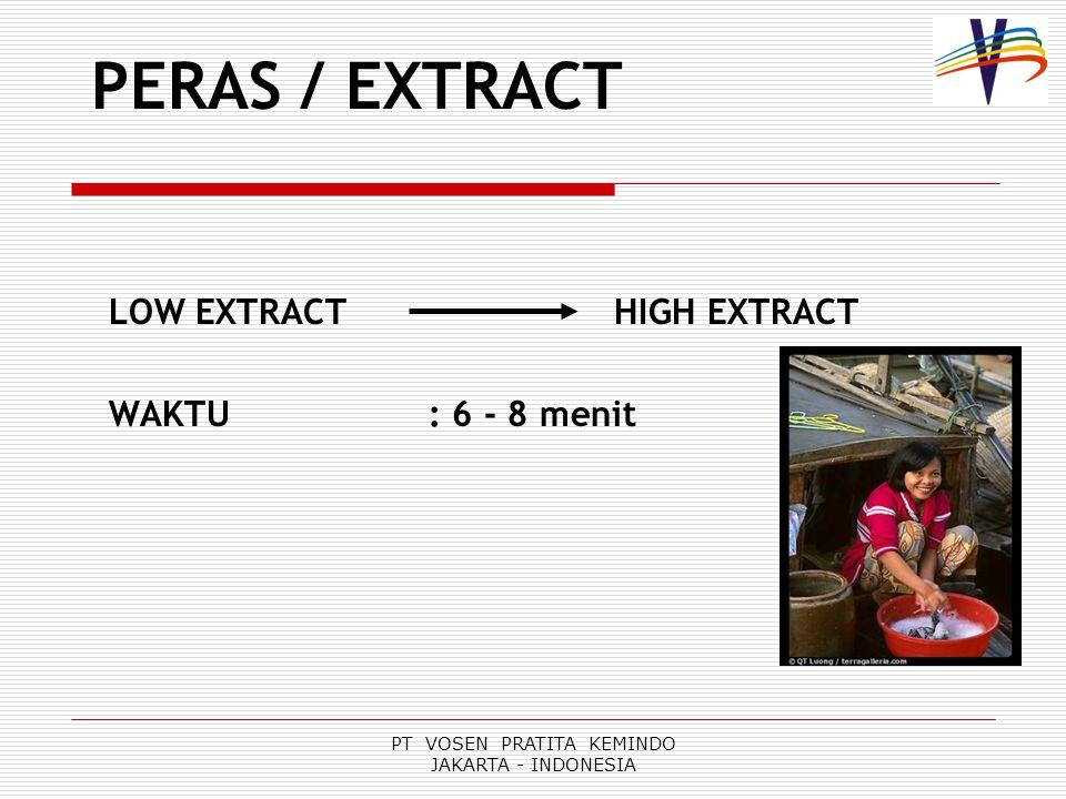 PT VOSEN PRATITA KEMINDO JAKARTA - INDONESIA PERAS / EXTRACT LOW EXTRACT HIGH EXTRACT WAKTU: 6 - 8 menit