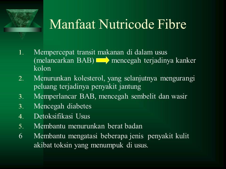 Manfaat Nutricode Fibre 1. Mempercepat transit makanan di dalam usus (melancarkan BAB) mencegah terjadinya kanker kolon 2. Menurunkan kolesterol, yang
