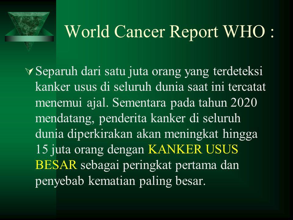 World Cancer Report WHO :  Separuh dari satu juta orang yang terdeteksi kanker usus di seluruh dunia saat ini tercatat menemui ajal. Sementara pada t