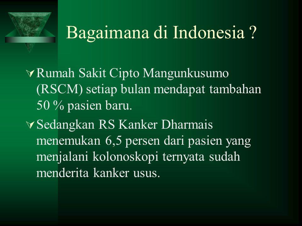 Bagaimana di Indonesia ?  Rumah Sakit Cipto Mangunkusumo (RSCM) setiap bulan mendapat tambahan 50 % pasien baru.  Sedangkan RS Kanker Dharmais menem