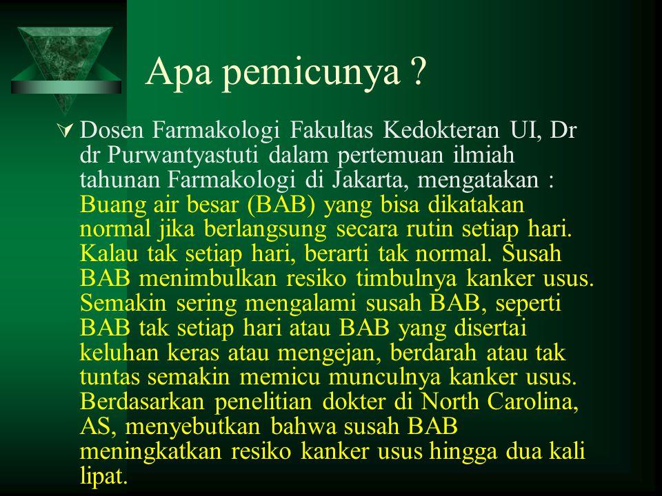 Apa pemicunya ?  Dosen Farmakologi Fakultas Kedokteran UI, Dr dr Purwantyastuti dalam pertemuan ilmiah tahunan Farmakologi di Jakarta, mengatakan : B