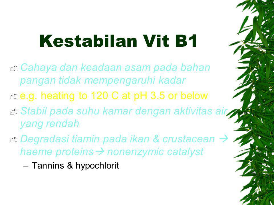 Kestabilan Vit B1  Cahaya dan keadaan asam pada bahan pangan tidak mempengaruhi kadar  e.g.