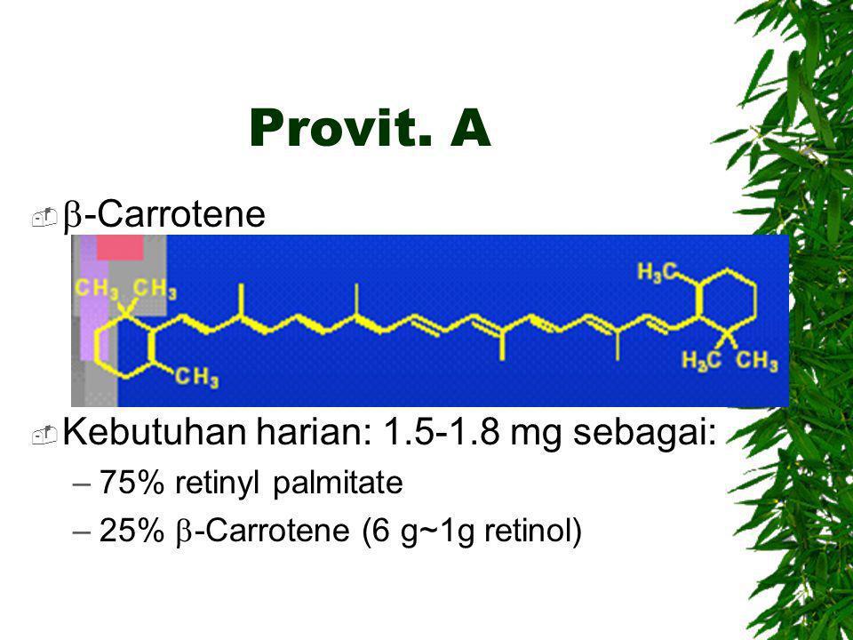 Provit. A   -Carrotene  Kebutuhan harian: 1.5-1.8 mg sebagai: –75% retinyl palmitate –25%  -Carrotene (6 g~1g retinol)