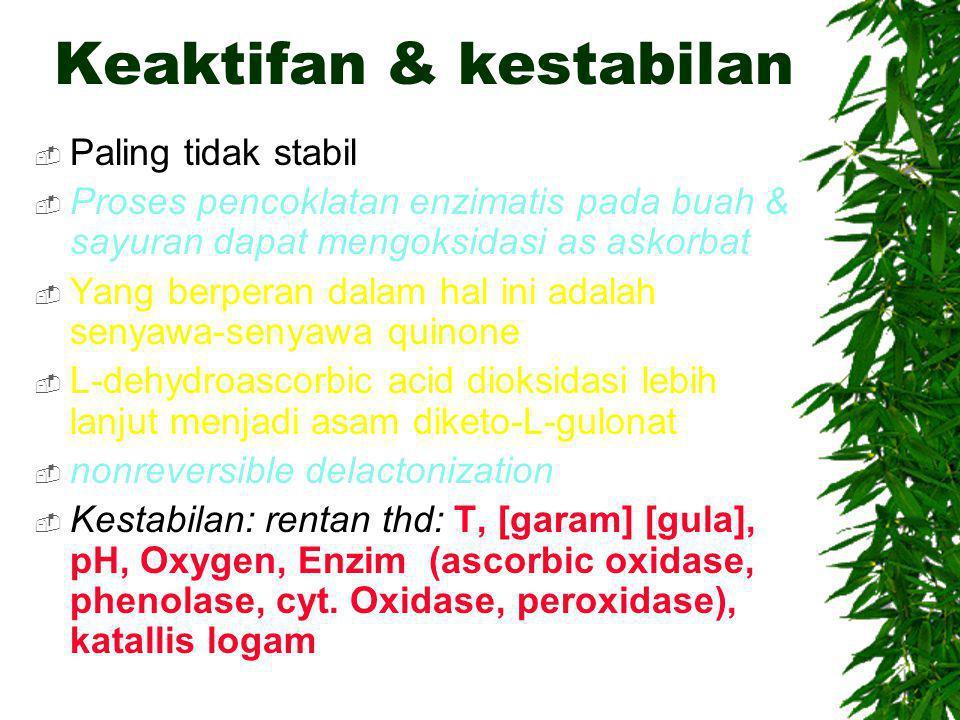Keaktifan & kestabilan  Paling tidak stabil  Proses pencoklatan enzimatis pada buah & sayuran dapat mengoksidasi as askorbat  Yang berperan dalam h