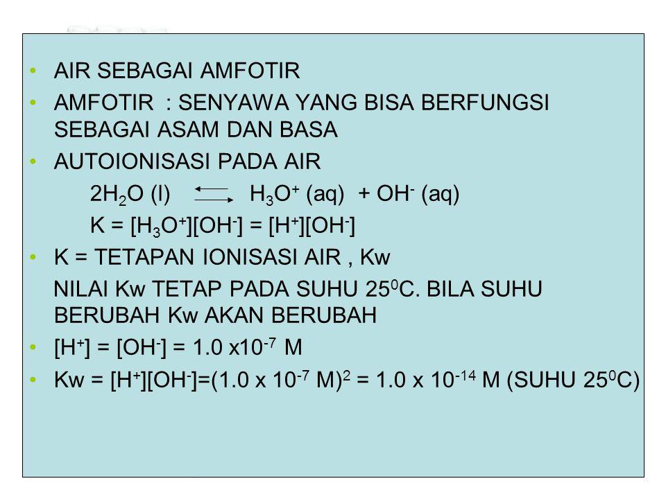 •AIR SEBAGAI AMFOTIR •AMFOTIR : SENYAWA YANG BISA BERFUNGSI SEBAGAI ASAM DAN BASA •AUTOIONISASI PADA AIR 2H 2 O (l) H 3 O + (aq) + OH - (aq) K = [H 3