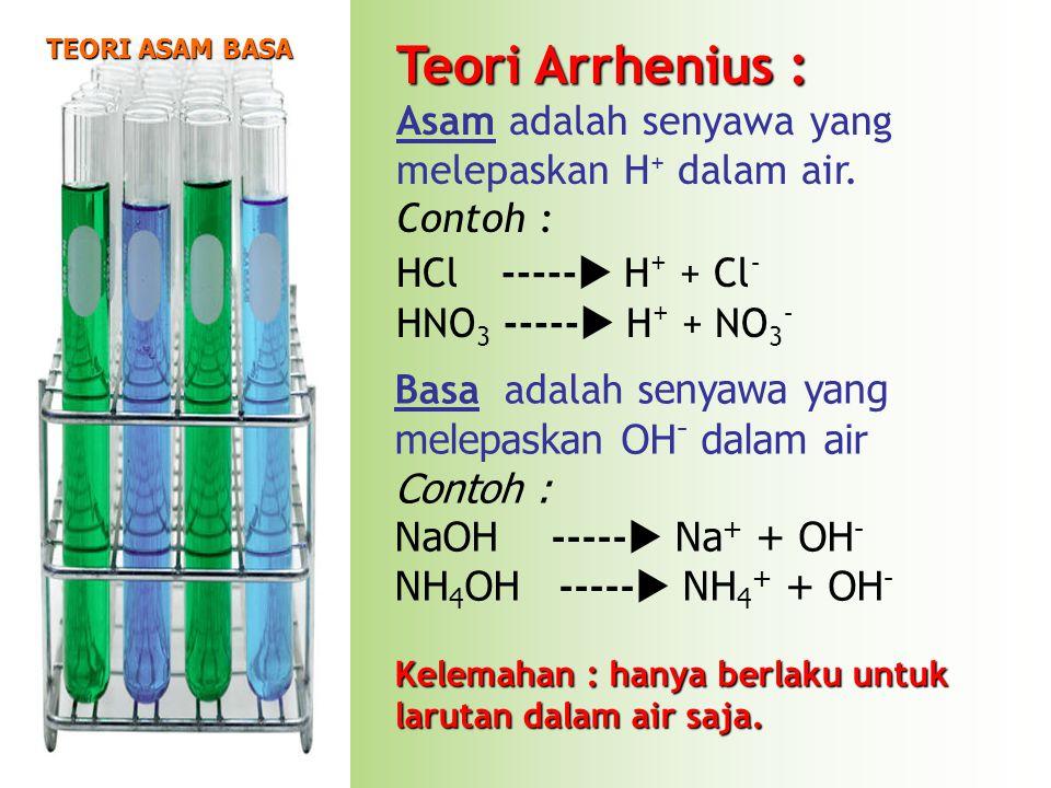 Teori Arrhenius : Asam adalah senyawa yang melepaskan H + dalam air. Contoh : HCl-----  H + + Cl - HNO 3 -----  H + + NO 3 - Basa adalah s enyawa ya