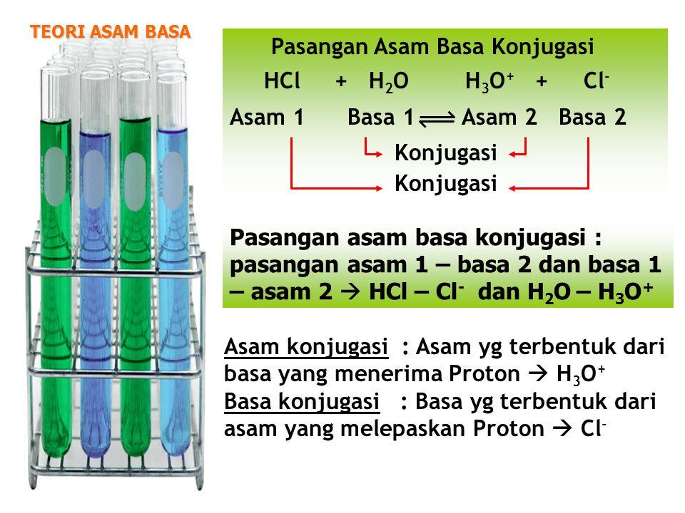  SENYAWA YANG BISA BERPERAN SEBAGAI ASAM BRONSTED ATAU BASA BRONSTED  CONTOH : ION HIDROGEN FOSFAT (HPO 4 2- ) HPO 4 2- (aq) + H 2 O (l) H 3 O + (aq) + PO 4 3- (aq) ACID HPO 4 2- (aq) + H 2 O (l) H 2 PO 4- (aq) + OH - (aq) BASE