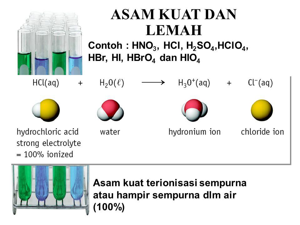  Asam lemah terionisasi kurang dari 100% dalam air.