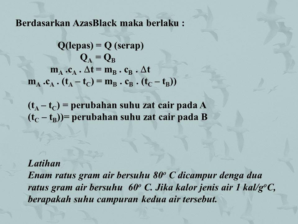 Berdasarkan AzasBlack maka berlaku : Q(lepas) = Q (serap) Q A = Q B m A.c A.  t = m B. c B.  t m A.c A. (t A – t C ) = m B. c B. (t C – t B )) (t A
