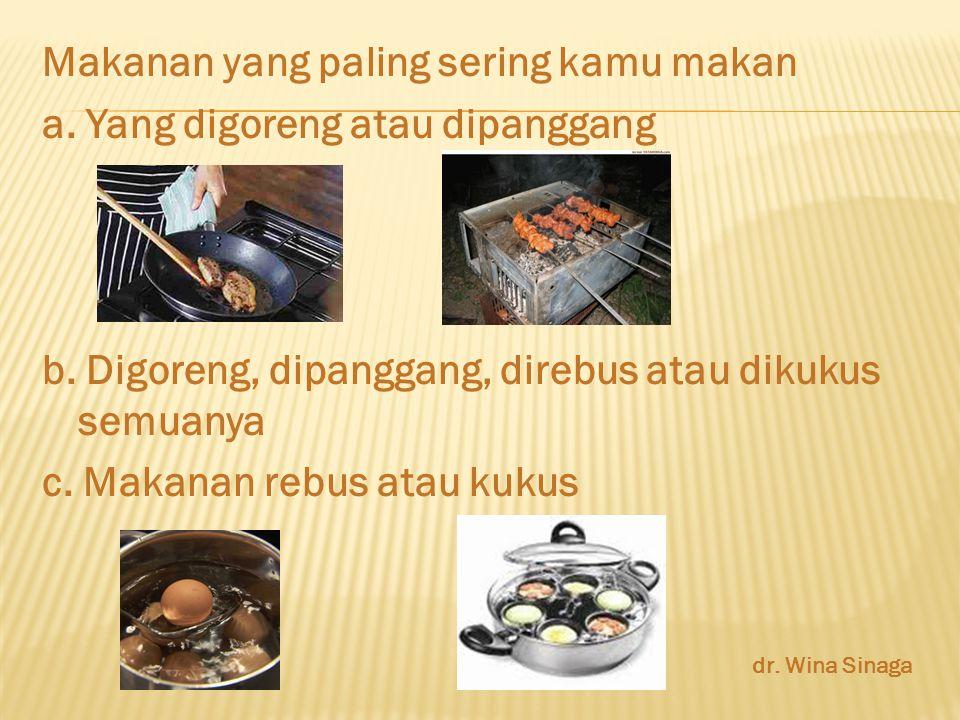 Makanan yang paling sering kamu makan a. Yang digoreng atau dipanggang b.