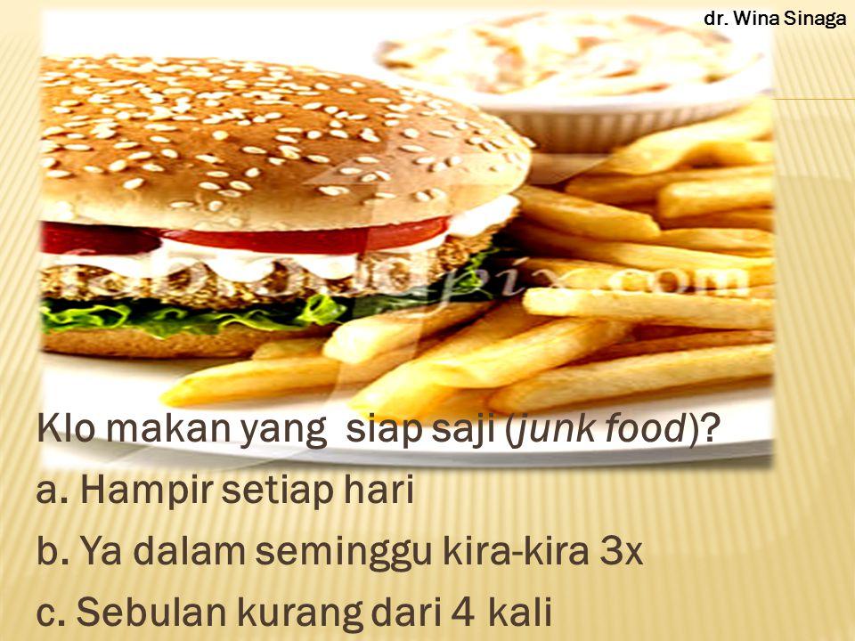 Klo makan yang siap saji (junk food). a. Hampir setiap hari b.
