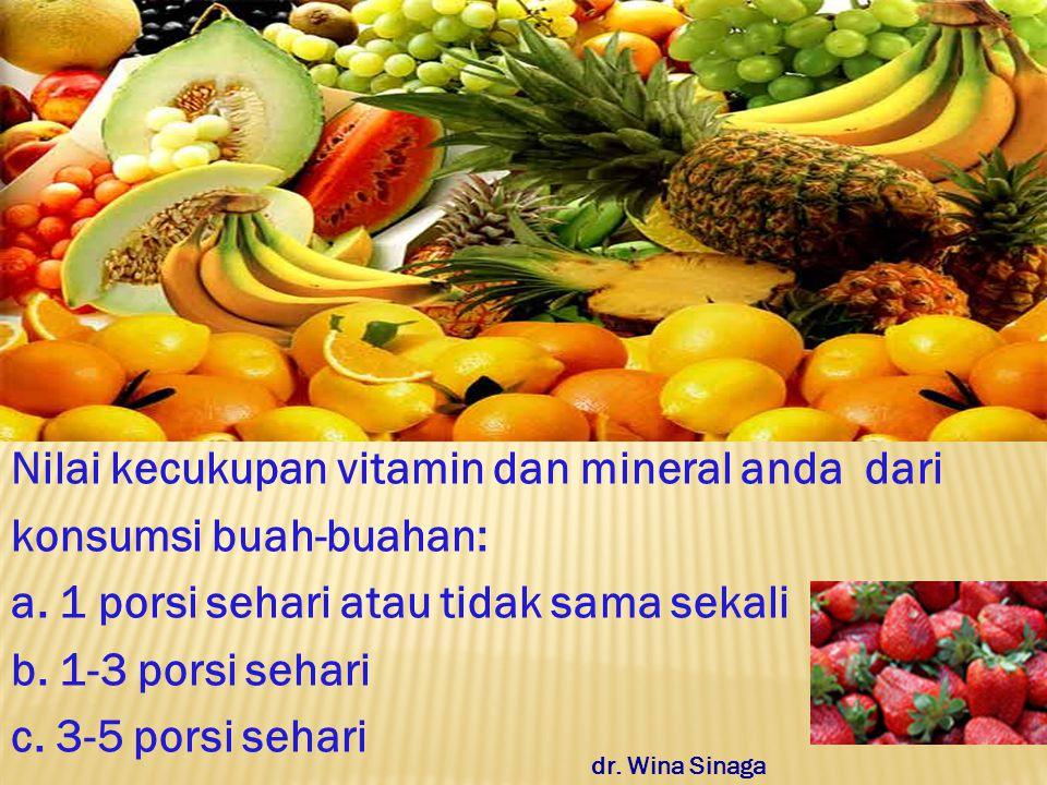 Nilai kecukupan vitamin dan mineral anda dari konsumsi buah-buahan: a.