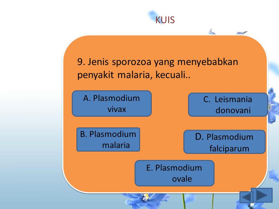 KUIS 8.Berikut klasifikasi protozoa berdasarkan alat gerak adalah A.