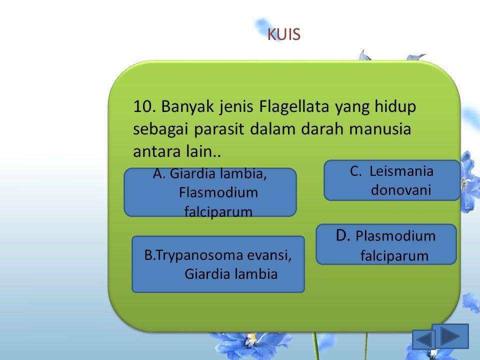 KUIS 9.Jenis sporozoa yang menyebabkan penyakit malaria, kecuali..