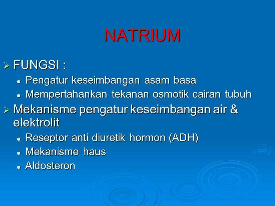 NATRIUM  FUNGSI :  Pengatur keseimbangan asam basa  Mempertahankan tekanan osmotik cairan tubuh  Mekanisme pengatur keseimbangan air & elektrolit  Reseptor anti diuretik hormon (ADH)  Mekanisme haus  Aldosteron