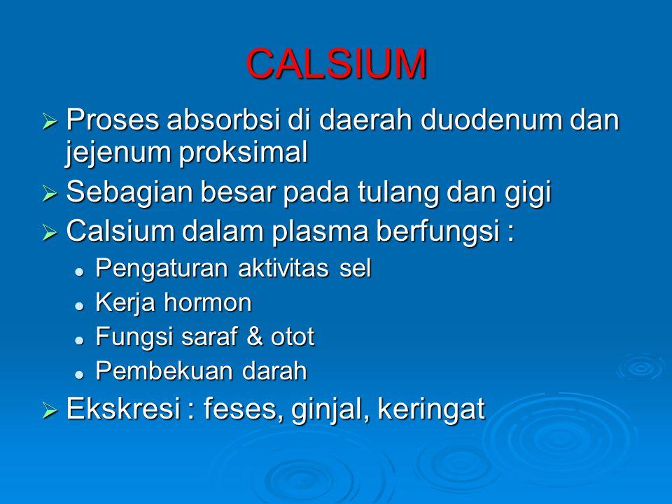 CALSIUM  Proses absorbsi di daerah duodenum dan jejenum proksimal  Sebagian besar pada tulang dan gigi  Calsium dalam plasma berfungsi :  Pengaturan aktivitas sel  Kerja hormon  Fungsi saraf & otot  Pembekuan darah  Ekskresi : feses, ginjal, keringat