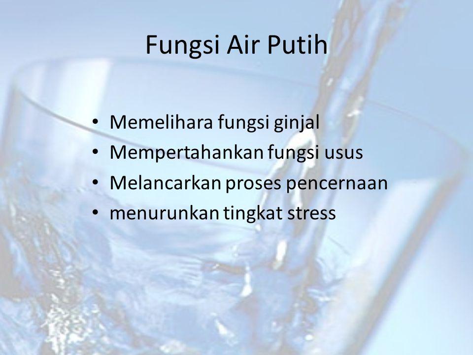 Fungsi Air Putih • Memelihara fungsi ginjal • Mempertahankan fungsi usus • Melancarkan proses pencernaan • menurunkan tingkat stress