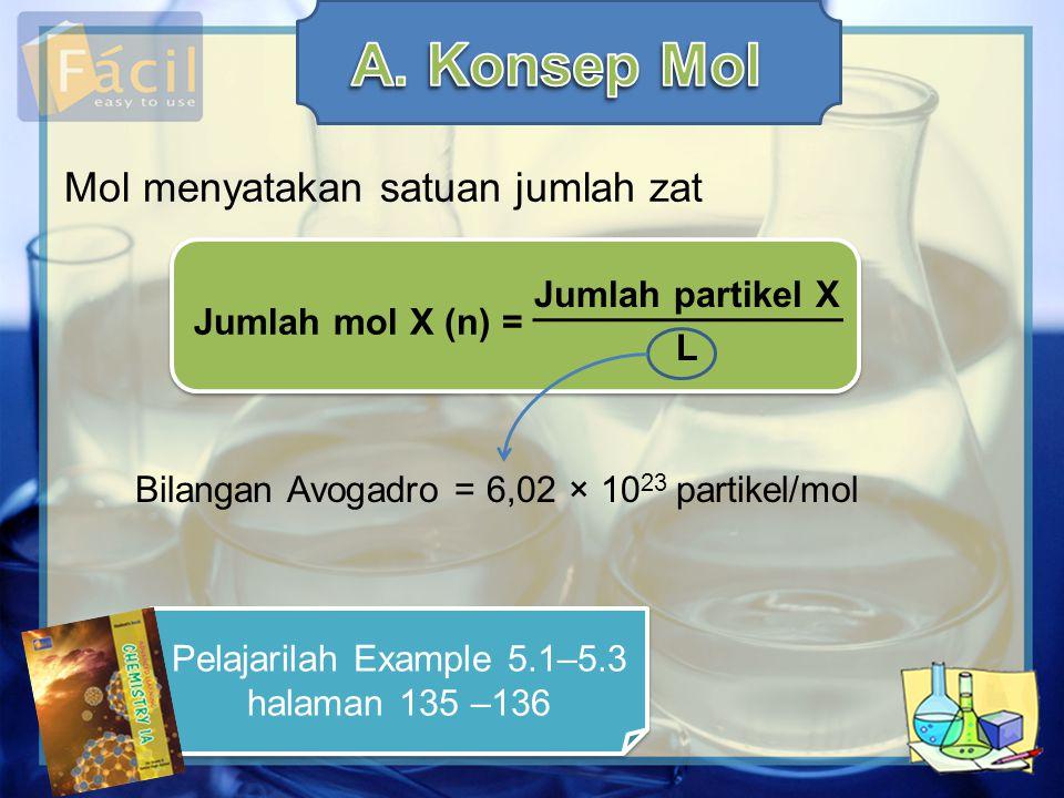 Massa satu mol zat disebut massa molar (M m ) dengan satuan g.mol –1.