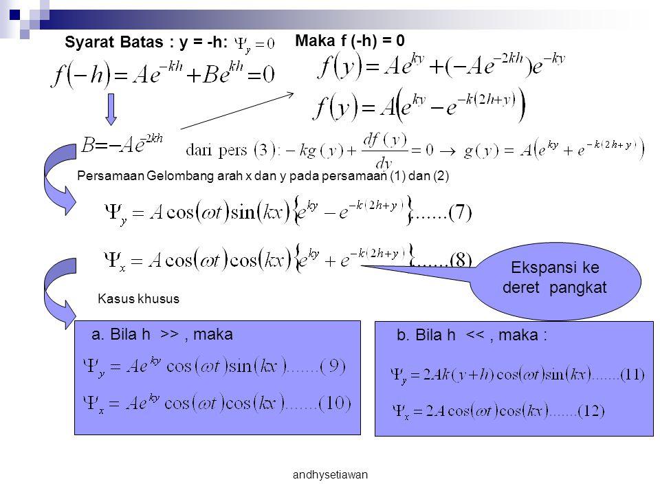 Syarat Batas : y = -h: Maka f (-h) = 0 Persamaan Gelombang arah x dan y pada persamaan (1) dan (2) Kasus khusus a.