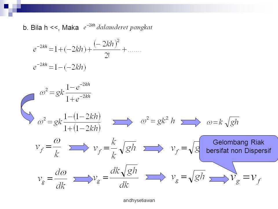 b. Bila h <<, Maka Gelombang Riak bersifat non Dispersif andhysetiawan