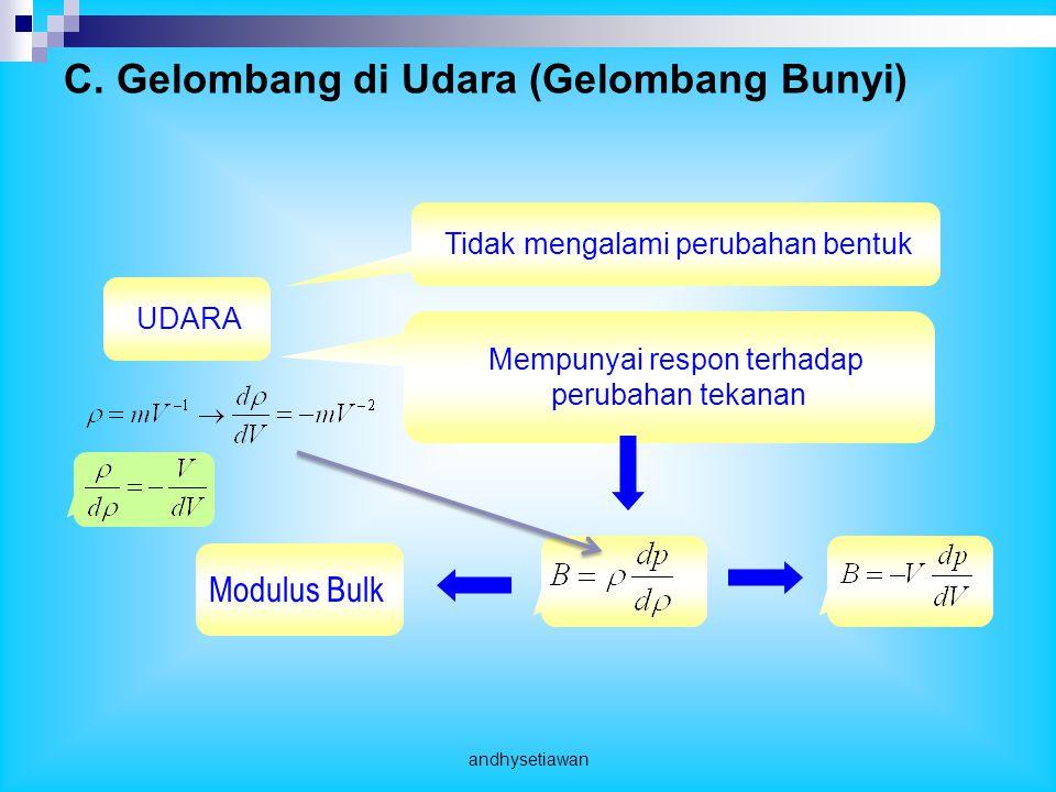 UDARATidak mengalami perubahan bentuk Mempunyai respon terhadap perubahan tekanan Modulus Bulk C.