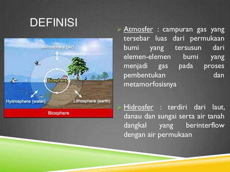 DEFINISI  Atmosfer : campuran gas yang tersebar luas dari permukaan bumi yang tersusun dari elemen-elemen bumi yang menjadi gas pada proses pembentuk