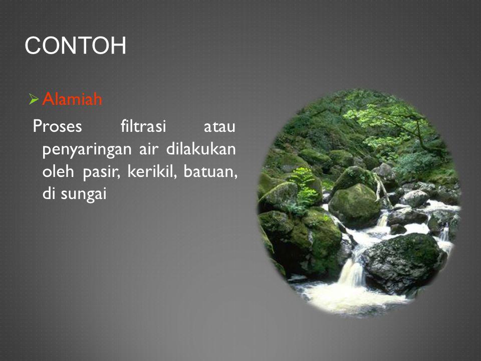 CONTOH  Alamiah Proses filtrasi atau penyaringan air dilakukan oleh pasir, kerikil, batuan, di sungai