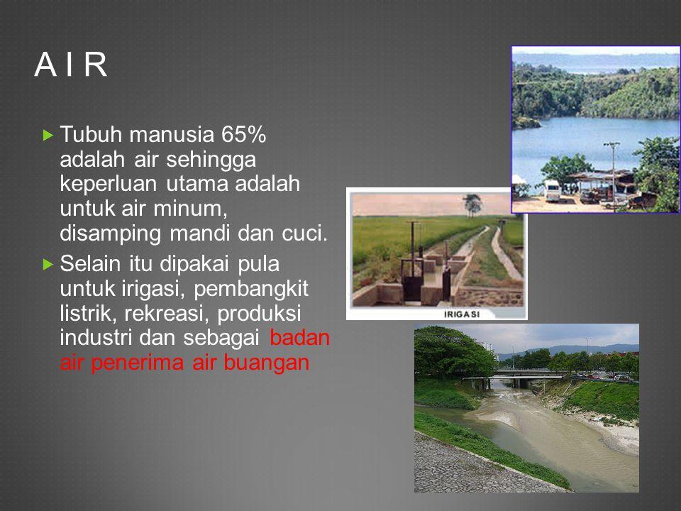 A I R  Tubuh manusia 65% adalah air sehingga keperluan utama adalah untuk air minum, disamping mandi dan cuci.  Selain itu dipakai pula untuk irigas