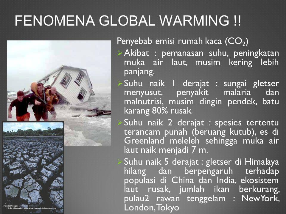 FENOMENA GLOBAL WARMING !! Penyebab emisi rumah kaca (CO 2 )  Akibat : pemanasan suhu, peningkatan muka air laut, musim kering lebih panjang.  Suhu