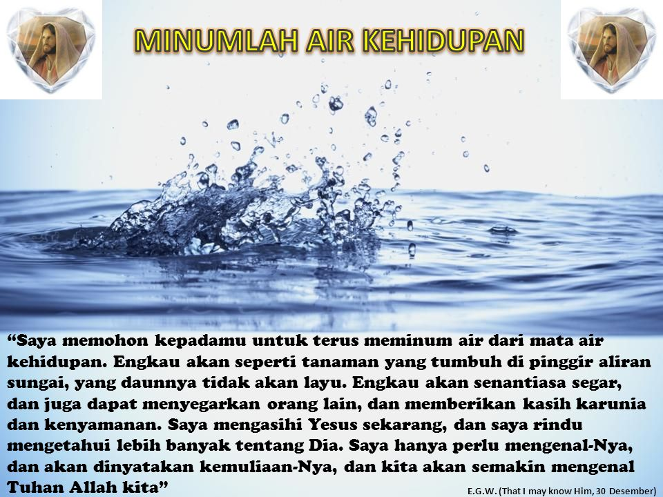 Saya memohon kepadamu untuk terus meminum air dari mata air kehidupan.