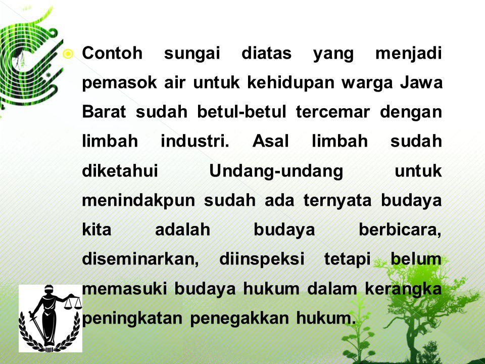  Contoh sungai diatas yang menjadi pemasok air untuk kehidupan warga Jawa Barat sudah betul-betul tercemar dengan limbah industri. Asal limbah sudah