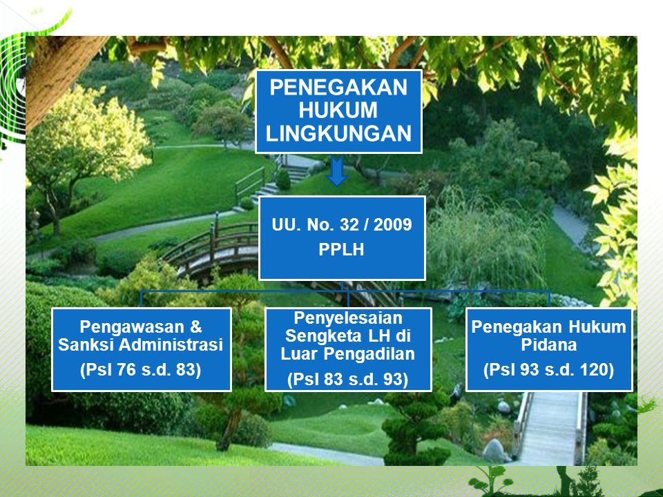 PENEGAKAN HUKUM LINGKUNGAN UU. No. 32 / 2009 PPLH Pengawasan & Sanksi Administrasi (Psl 76 s.d. 83) Penyelesaian Sengketa LH di Luar Pengadilan (Psl 8