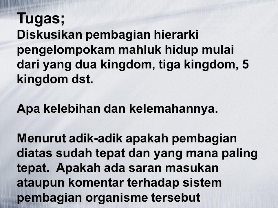 Tugas; Diskusikan pembagian hierarki pengelompokam mahluk hidup mulai dari yang dua kingdom, tiga kingdom, 5 kingdom dst. Apa kelebihan dan kelemahann