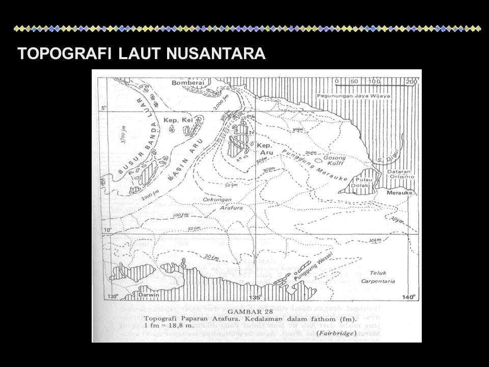 NoBasin atau palungBatas garis kedalaman (m) Kedalaman maksimum (m) Luas (km 2 ) 1Basin Sulu4.0005.58046.000 2Palung Mindanao6.00010.830-- 3Palung Talaud3.0003.4502.700 4Palung Sangihe3.0003.85010.000 5Basin Sulawesi4.0006.22026.000 6Basin Morotai3.0003.8901.500 7Palung Ternate3.0003.4501.000 8Basin Bacan3.0004.8106.800 9Basin Mangole3.0003.5101.900 10Basin Gorontalo3.0004.18014.000 11Palung Makassar2.0002.54055.000 12Basin Halmahera1.0002.03915.000 13Basin Buru3.0005.31916.000 14Basin Banda Utara4.0005.80080.000 15Basin Banda Selatan4.0005.400120.000 BASIN DAN PALUNG DI PERAIRAN INDONESIA