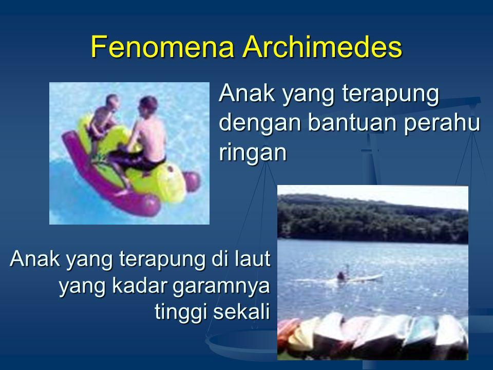 PRINSIP ARCHIMEDES( lanjut…) TenggelamTerapungMelayang Apa syarat benda tenggelam, terapung atau melayang dalam fluida?