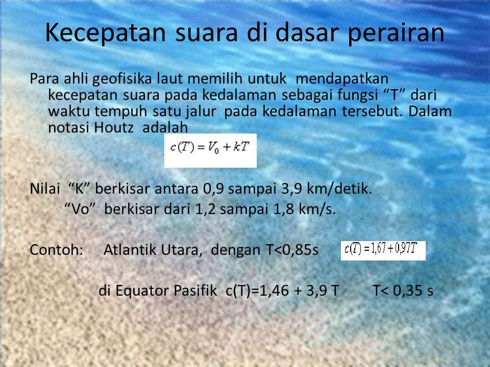 """Kecepatan suara di dasar perairan Para ahli geofisika laut memilih untuk mendapatkan kecepatan suara pada kedalaman sebagai fungsi """"T"""" dari waktu temp"""