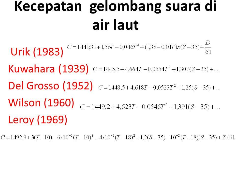 Kecepatan gelombang suara di air laut Urik (1983) Kuwahara (1939) Del Grosso (1952) Wilson (1960) Leroy (1969)