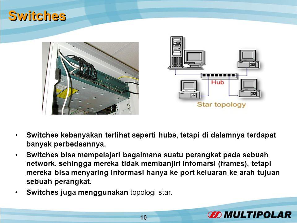 10 Switches •Switches kebanyakan terlihat seperti hubs, tetapi di dalamnya terdapat banyak perbedaannya.