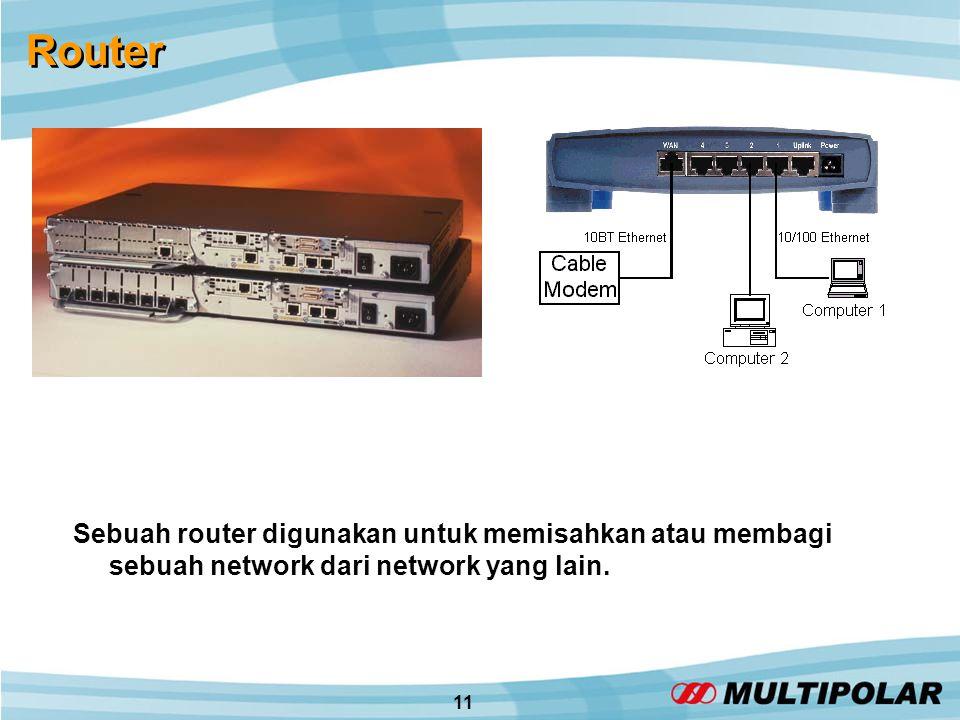 11 Router Sebuah router digunakan untuk memisahkan atau membagi sebuah network dari network yang lain.