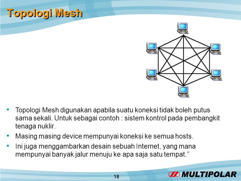 18 Topologi Mesh • Topologi Mesh digunakan apabila suatu koneksi tidak boleh putus sama sekali.