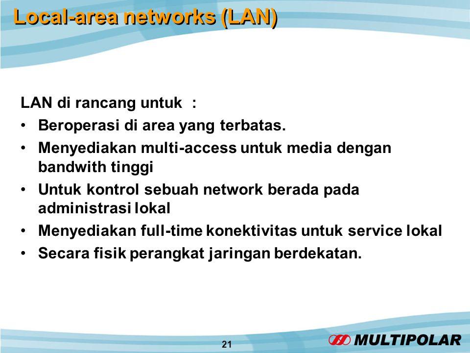 21 Local-area networks (LAN) LAN di rancang untuk : •Beroperasi di area yang terbatas.