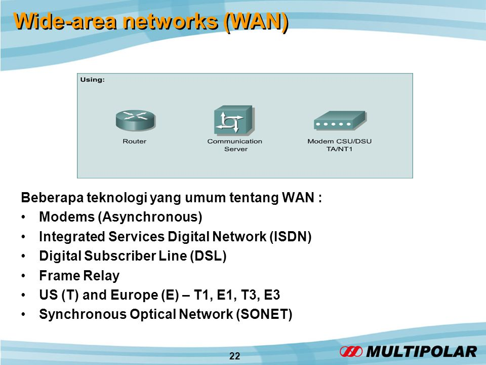 22 Wide-area networks (WAN) Beberapa teknologi yang umum tentang WAN : •Modems (Asynchronous) •Integrated Services Digital Network (ISDN) •Digital Sub